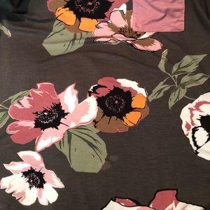Tops - NWOT Charcoal Floral Pink Pocket Baseball Tee XL